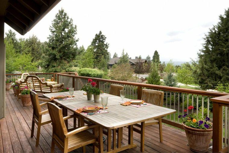 comida cena exterior muebles terraza dos espacios ideas