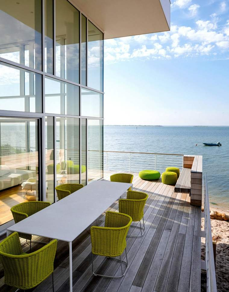 comida cena exterior muebles vistas oceano ideas