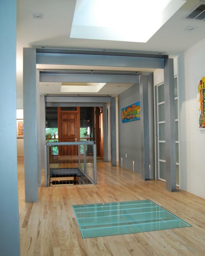 como decorar pasillos tendencias luces vigas