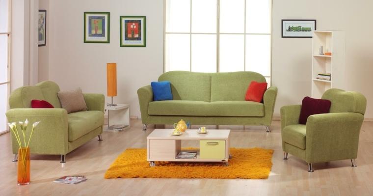 conjunto sillones sofas verdes