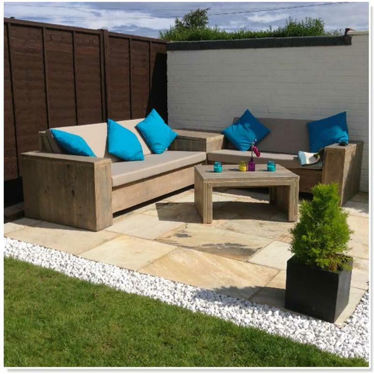 conjunto sofa sillones madera