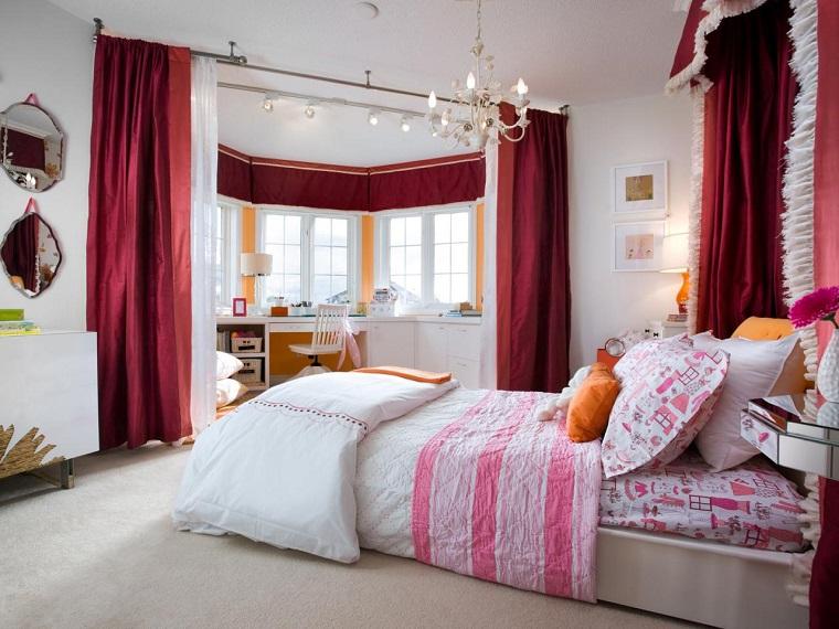 cortinas rojas dormitorio paredes blancas ideas