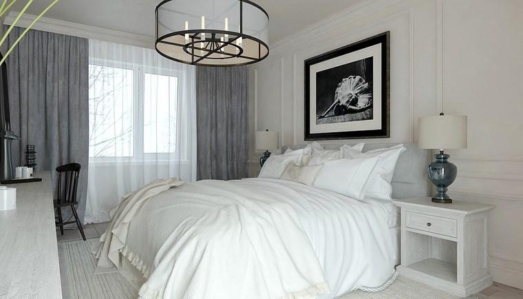 cuadros decorativos pared dormitorio moderno blanco ideas