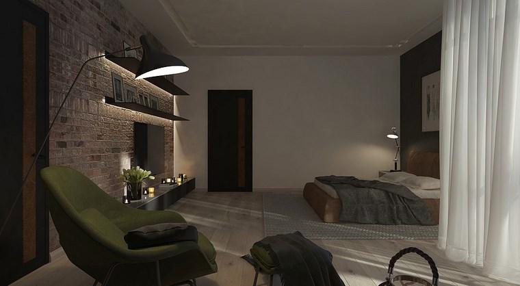 cuadros decorativos pared dormitorio moderno estantes iluminados ideas