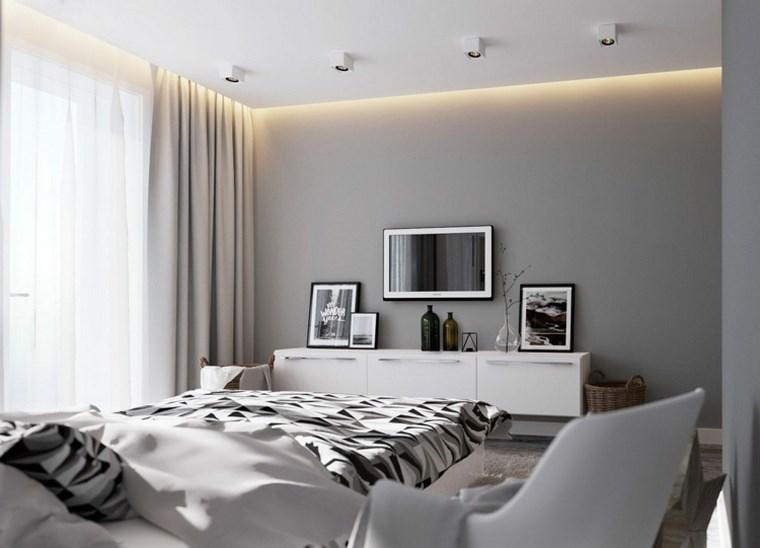 cuadros decorativos pared dormitorio moderno gris ideas