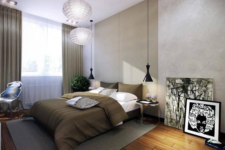cuadros decorativos pared dormitorio moderno lamparas colgantes negras ideas