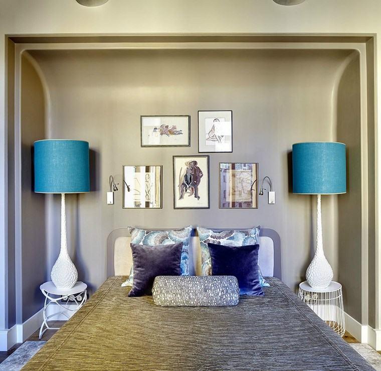 cuadros decorativos pared dormitorio moderno lamparas llamativas ideas