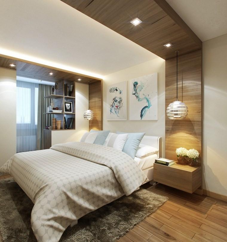 cuadros pared dormitorio moderno mesitas noche madera ideas