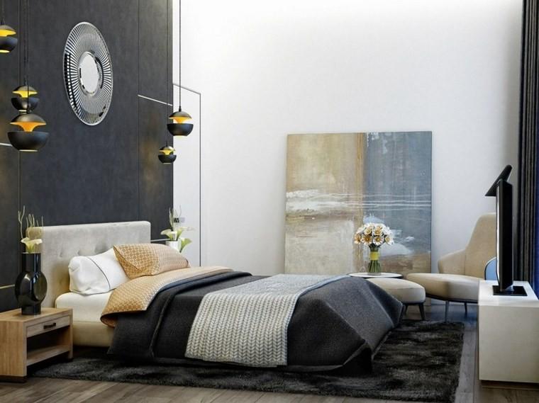 cuadros pared dormitorio moderno negro blanco ideas
