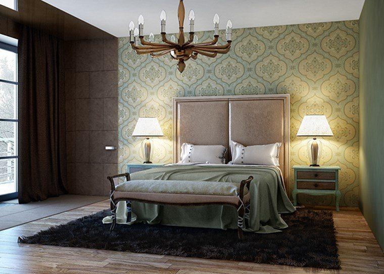 cuadros pared dormitorio moderno papel verde ideas