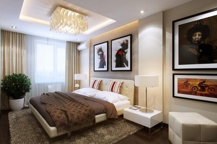 cuadros pared dormitorio moderno plantas ideas