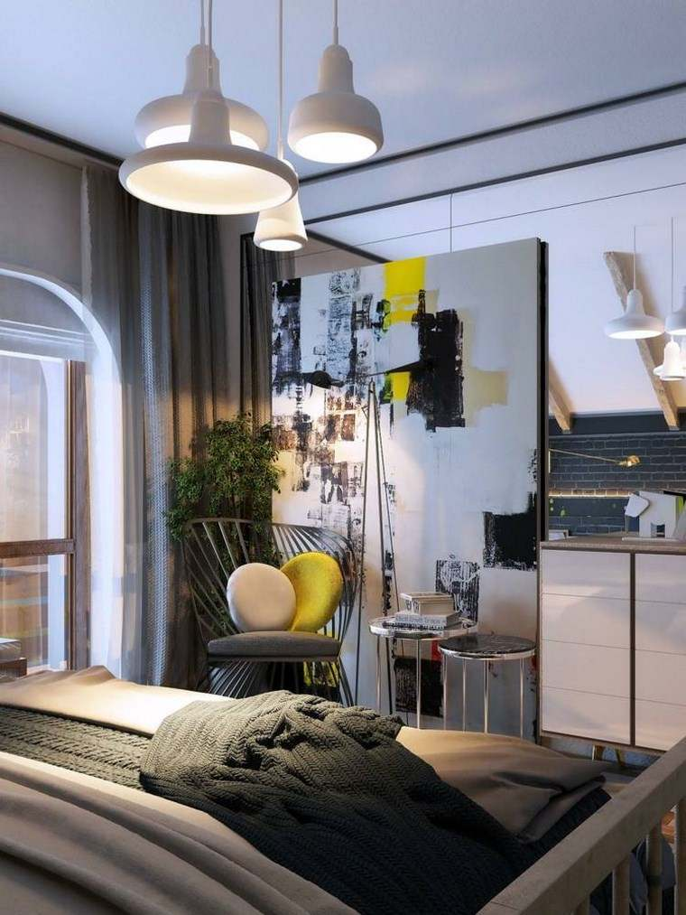 cuadros pared dormitorio moderno silla plantas ideas
