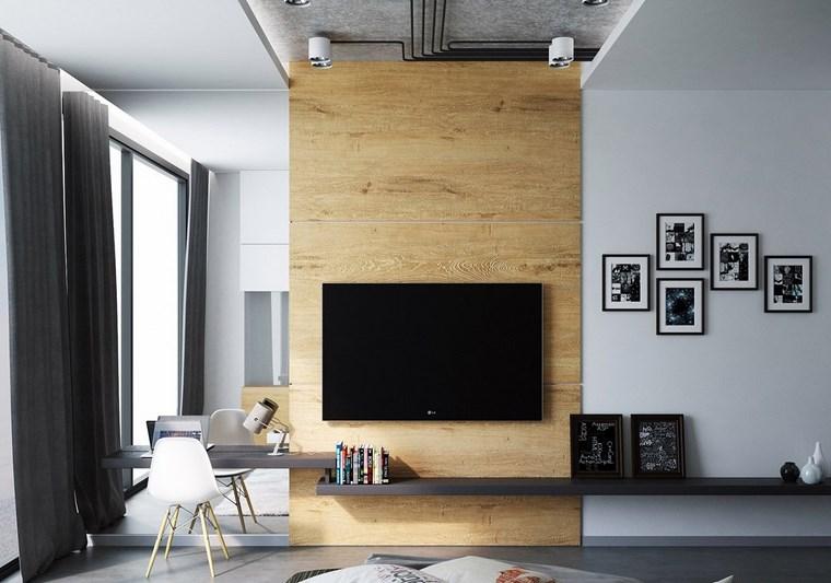 cuadros pared dormitorio moderno televisor ideas