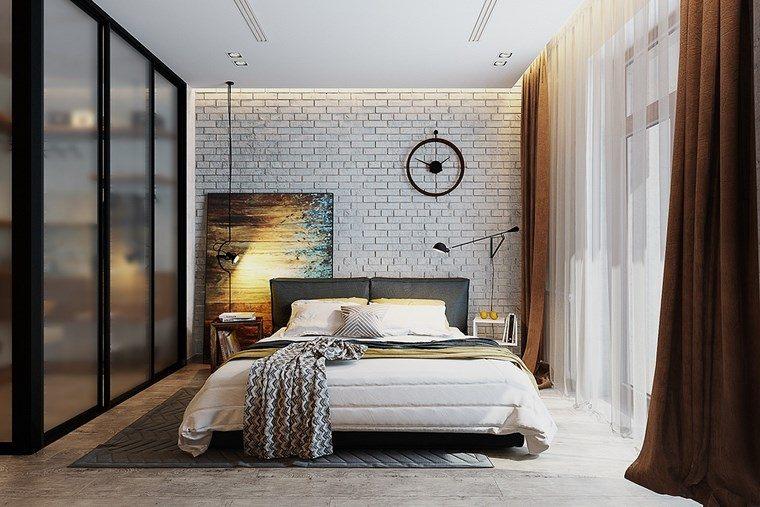 cuadros pared ladrillo dormitorio moderno ideas