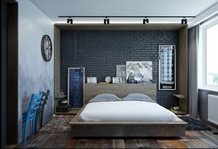 cuadros pared ladrillo negro dormitorio moderno ideas