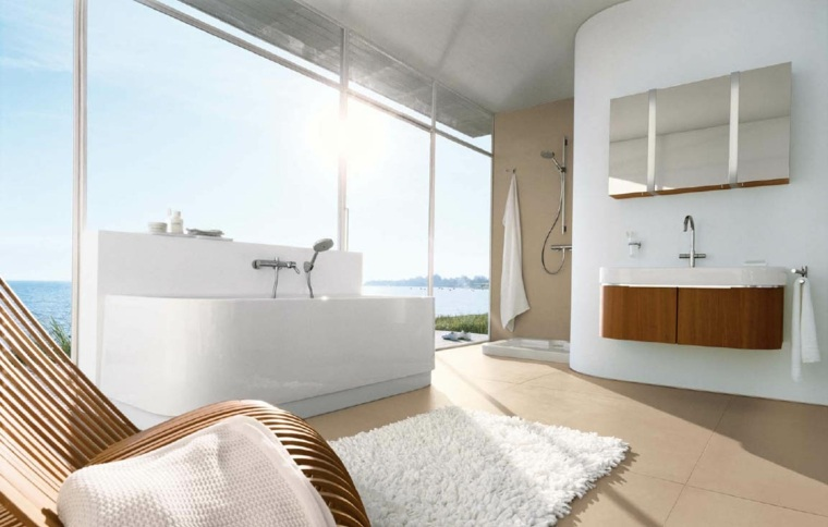 cuarto baños minimalistas elementos madera