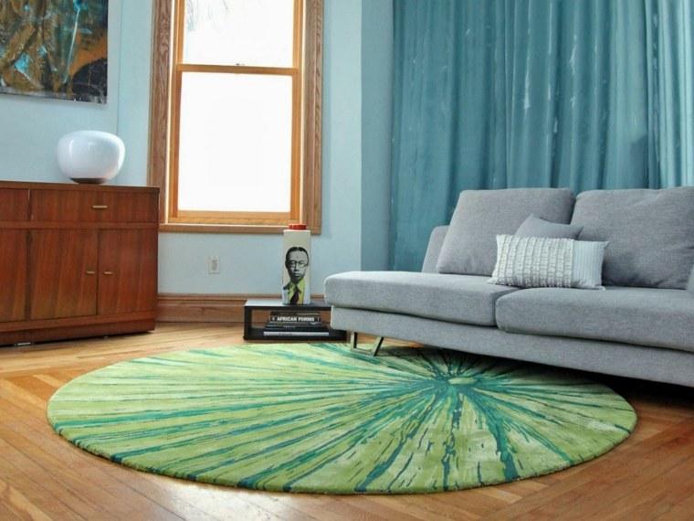 decoración alfombra redonda verde