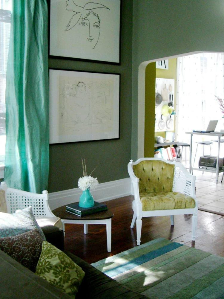 decoración interior color verde