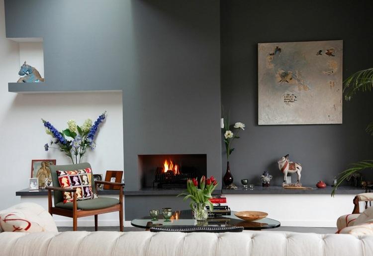 decoración moderna pared gris