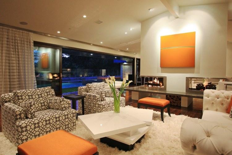 decoración sala tonos naranja