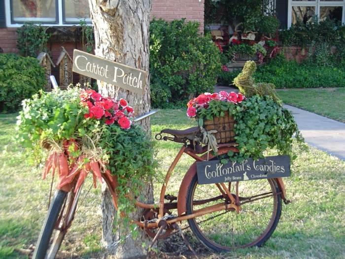 decoracion de jardines rusticos bicicleta decorados conejos
