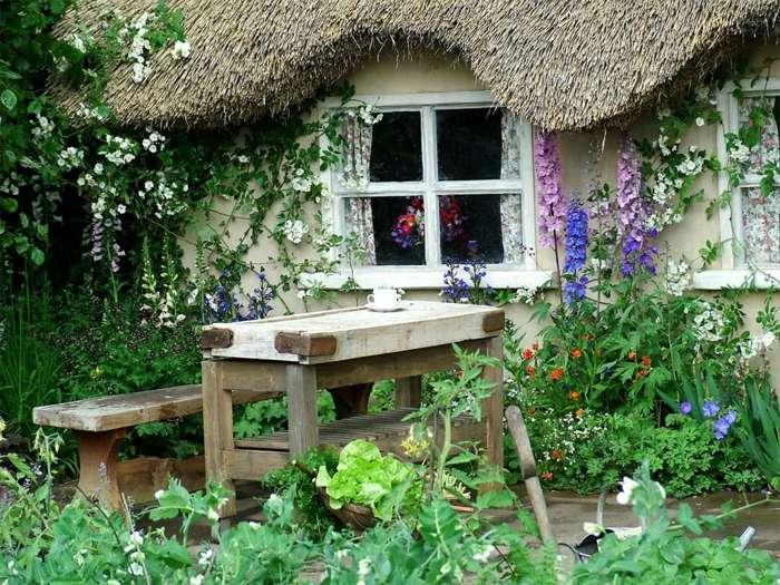 decoracion de jardines rusticos madera accesorios colores
