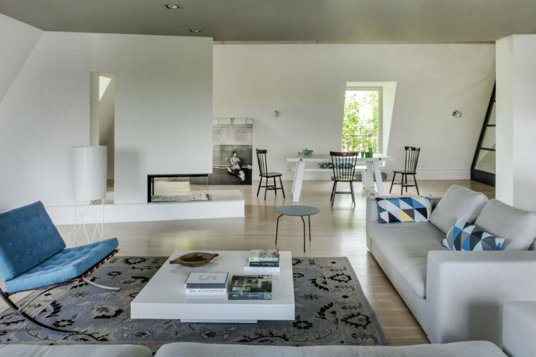 decoración salones modernos chimenea moderna ideas