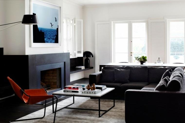 decoración salones modernos chimenea negra ideas