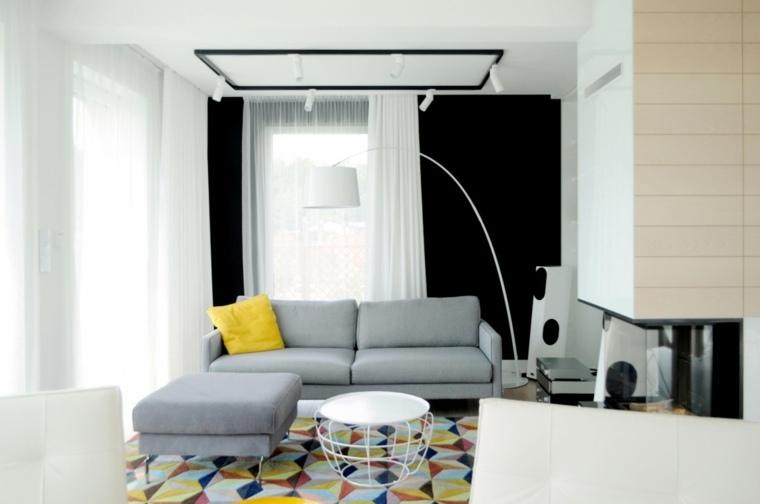 decoración salones modernos chimenea sofa ideas