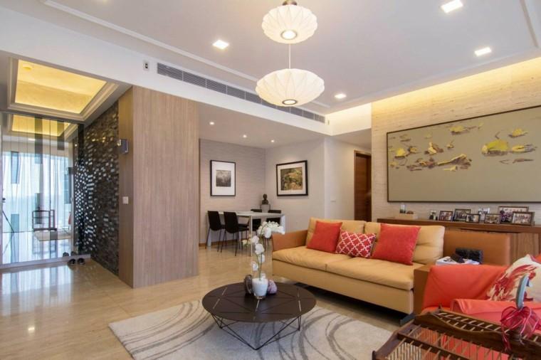 decoración salones modernos cuadro cojines colores ideas