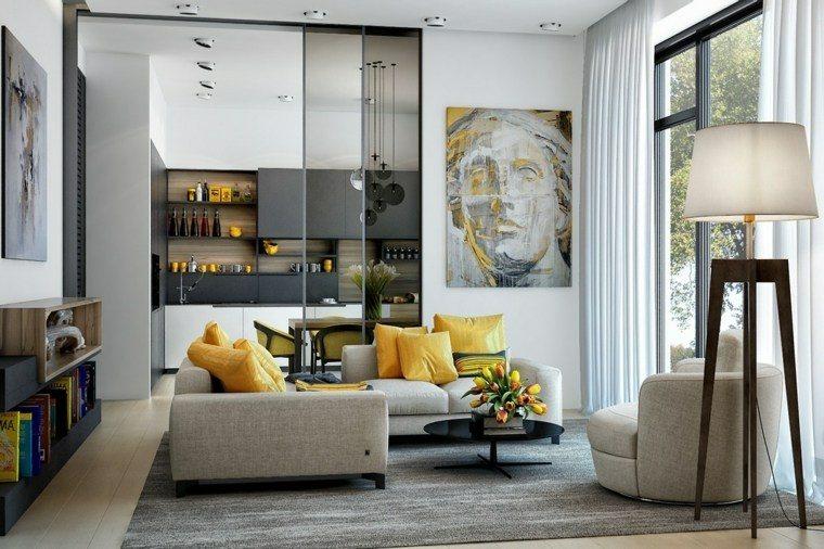 decoración salones modernos cuadro pared ideas