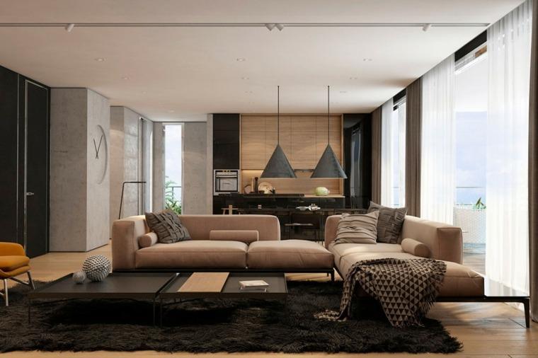 decoración salones modernos diseno muebles beige ideas