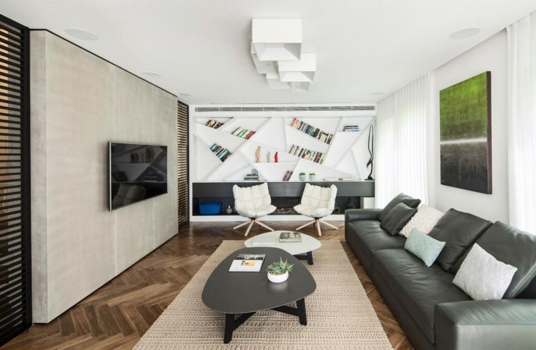 decoracion de salones modernos estantes blancos ideas
