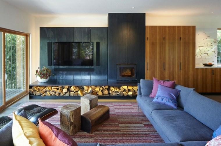 decoracion de salones modernos troncos madera ideas
