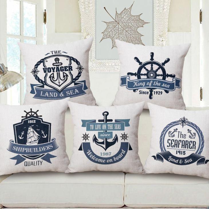 decoracion marinera salones azules cojines salones