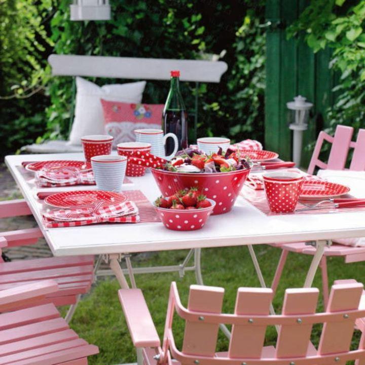 decoracion mesa jardin maceta barro lunares vajilla