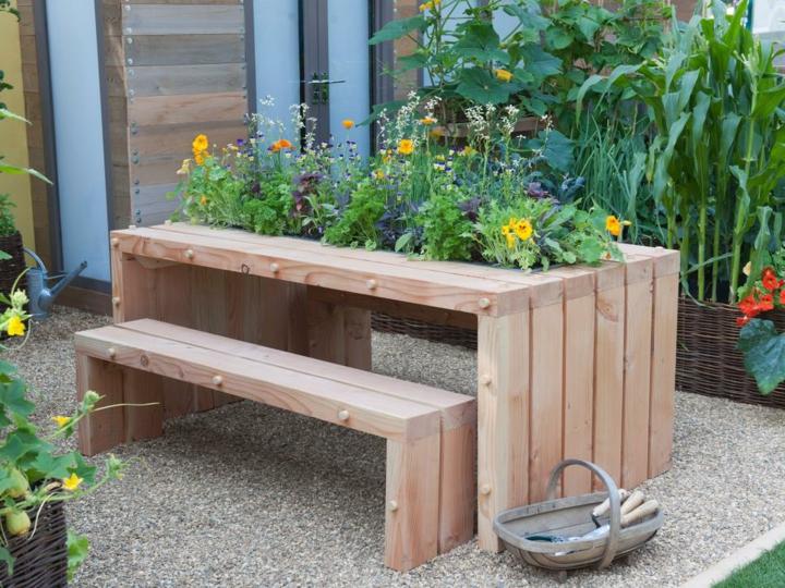 decoracion mesa jardin soluciones jardineras ideas