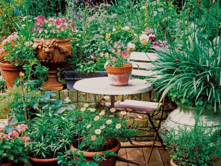decoracion mesa jardin soluciones metalicas flores