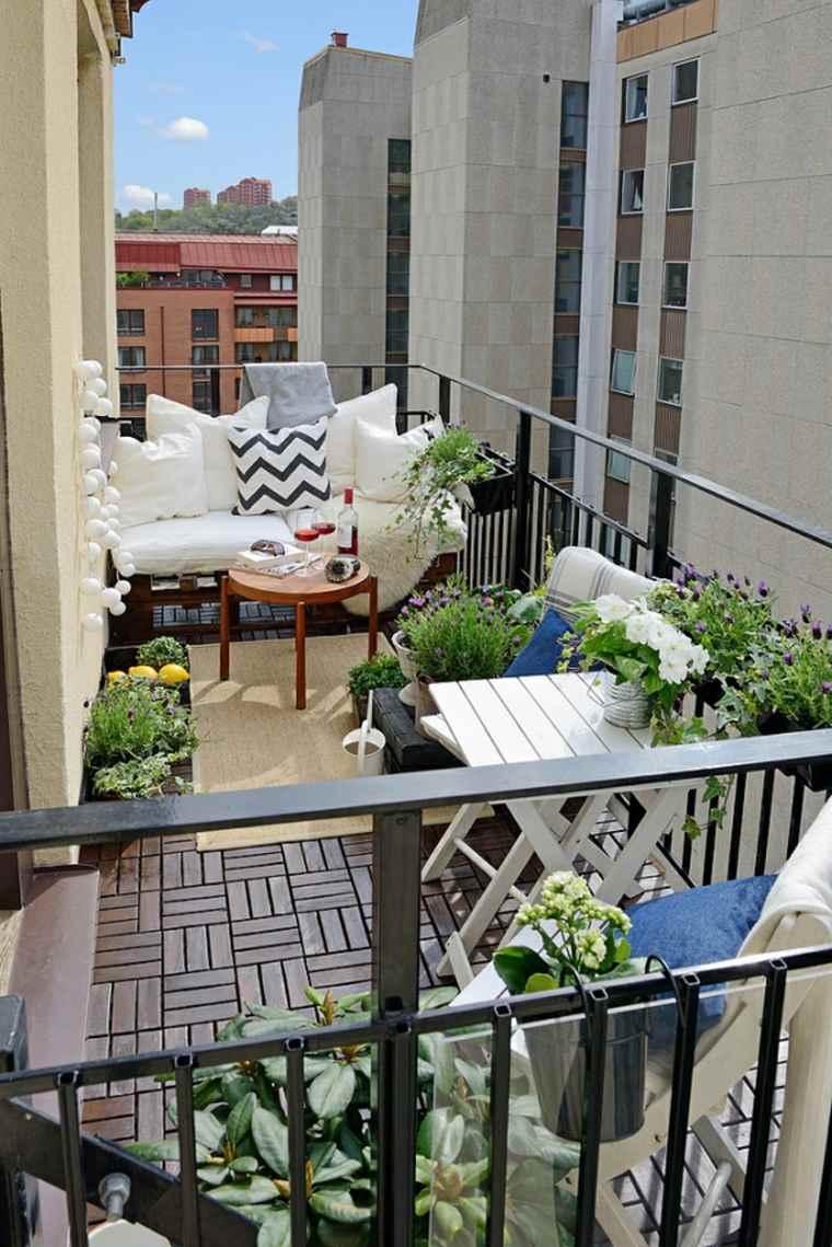 decoracion para balcones opciones cojines blancos ideas
