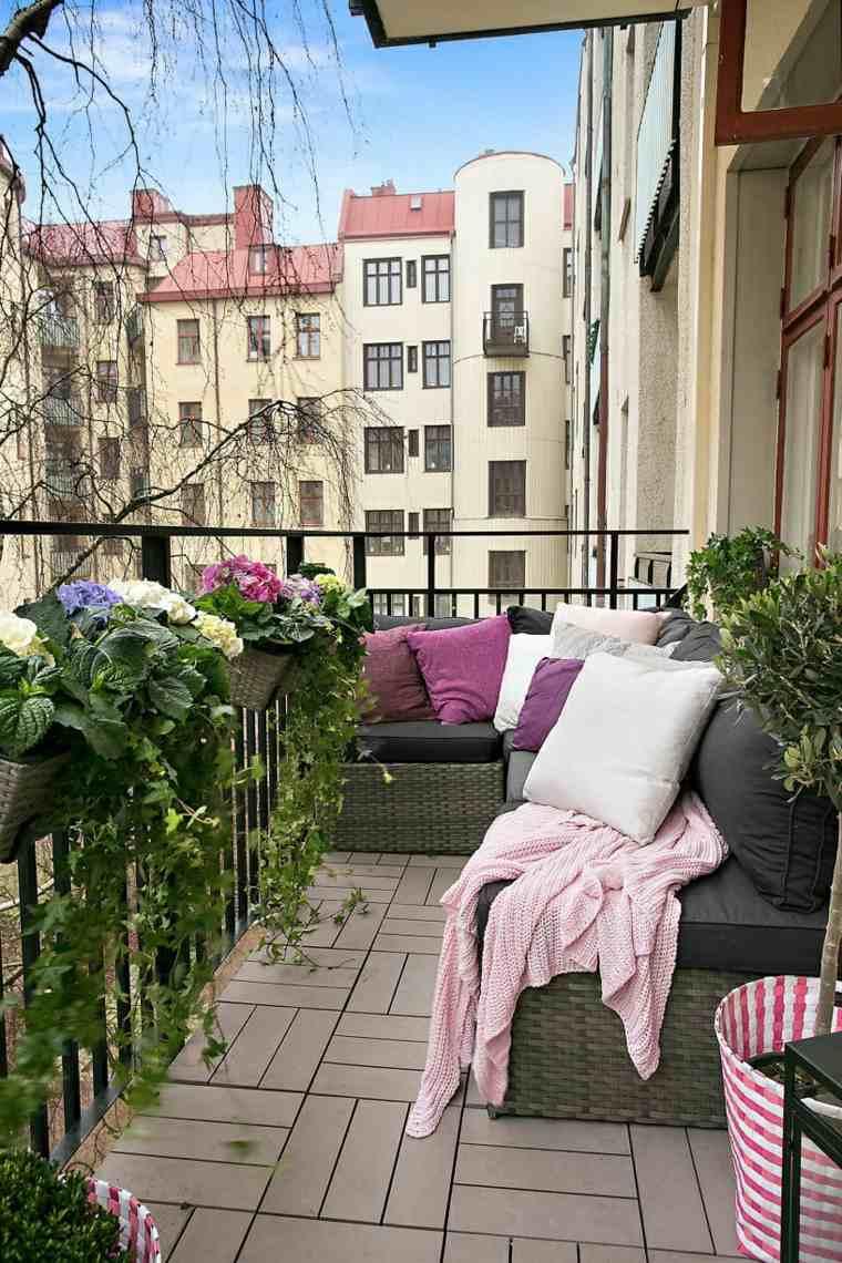 decoracion para balcones opciones cojines colores ideas