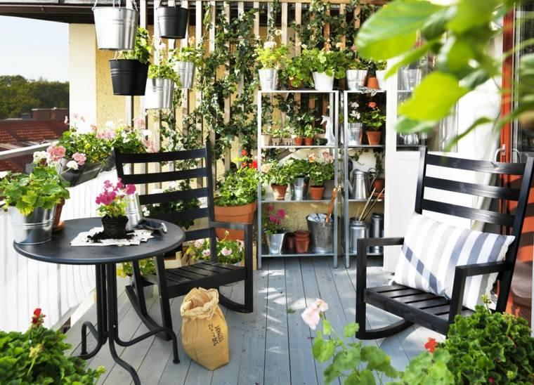 decoracion balcones opciones muebles negros ideas