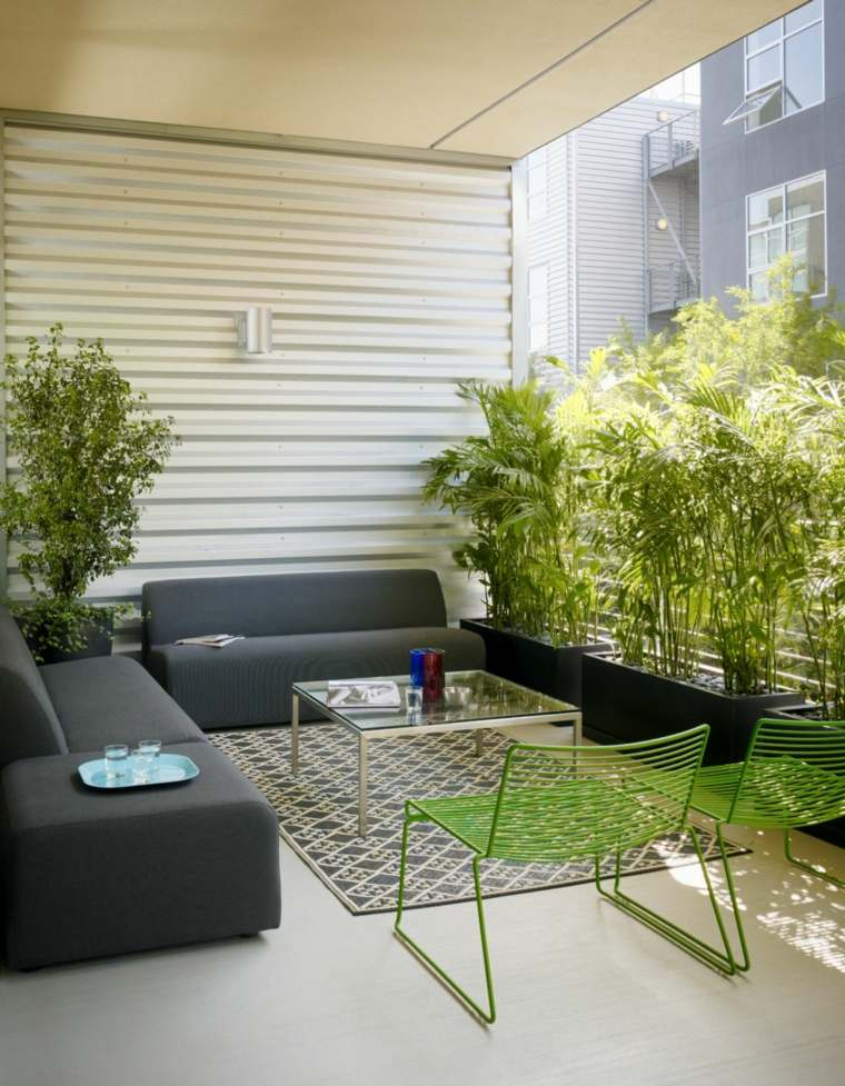 decoracion balcones opciones sillones acero verde ideas