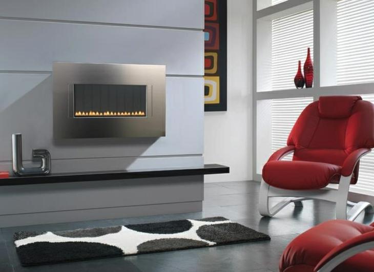 decoracion salones con chimenea cuero rojos