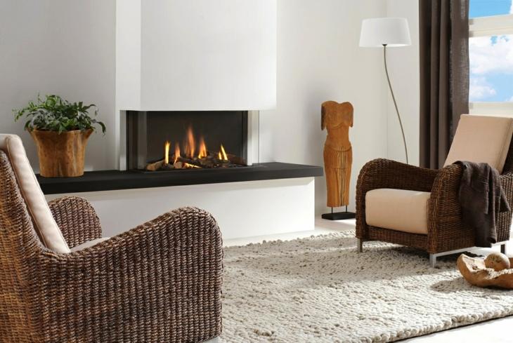 decoracion salones con chimenea frecuencias esculturas alfombras