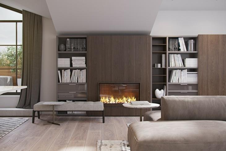 decoracion salones con chimenea libreros estantes fuentes