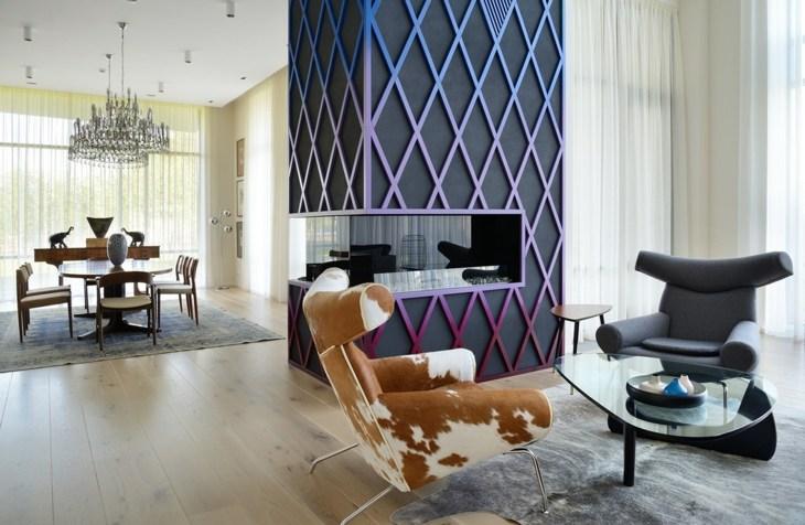 decoracion salones con chimenea texturas sillones