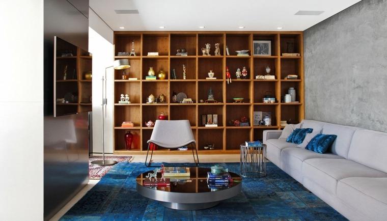 decoracion salones modernos alfombra azul ideas