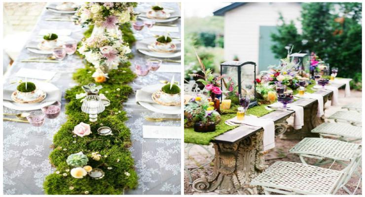 decoraciones mesas centros musgos