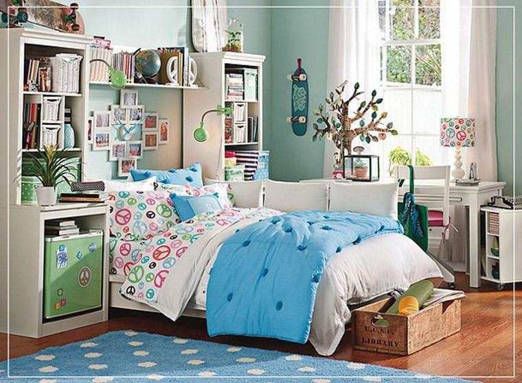 decorar habitacion nina alfombra azul paredes ideas