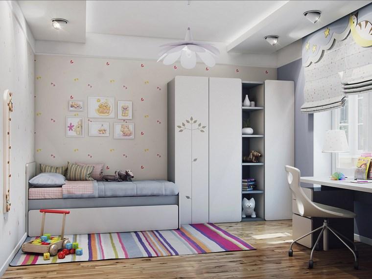 decorar habitacion nia alfombra rayas armario blanco ideas